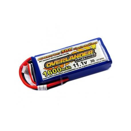 1600mAh 3S 11.1v 30C LiPo Battery - Overlander Supersport